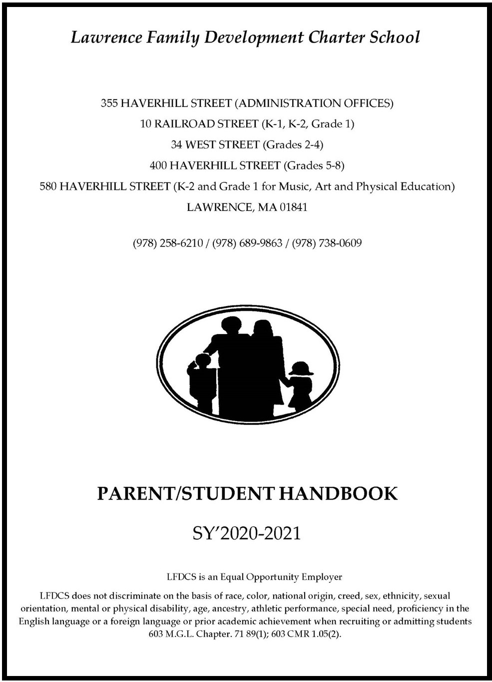 Parent Student Handbook Cover revised